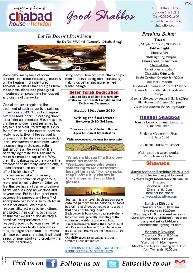 159 Shabbos Behar Newsletter & Schedule
