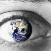 Planet earth  in eye